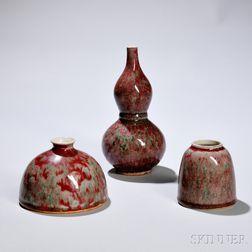 Three Peachbloom-glazed Porcelain Items