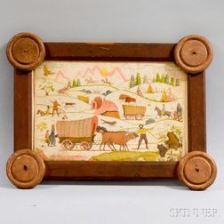 Watercolor Pioneer Scene in a Folk Art Frame