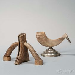 Antler Book Ends and Sheep Horn Ornament