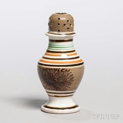 Mocha-decorated Pearlware Pepper Pot