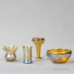 Four Pieces of Tiffany Gold Favrile Glass