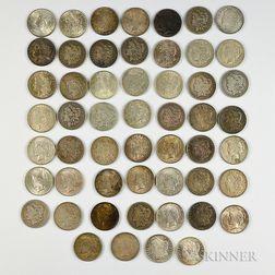 Fifty-three Morgan and Peace Dollars