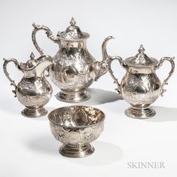 Four-piece William Gale & Son Silver Tea Service