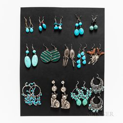 Fourteen Pairs of Southwest Earrings