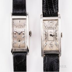 Two Platinum and Diamond-set Paul Ditisheim Tank-style Wristwatches