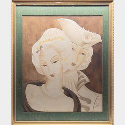 Benjamin Jorj Harris (American, 1904-1957)      Two Watercolor Double Portraits.