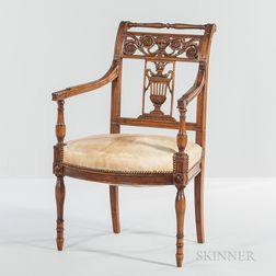 Italian Neoclassical Carved Fruitwood Armchair