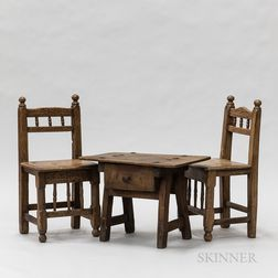 Two Early Spanish Carved Pine Chairs and a One-drawer Stand