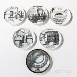 Six Piero Fornasetti (Italian, 1913-1988) Decorative Plates