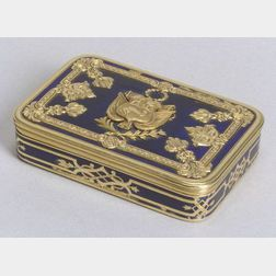 Interesting Continental Blue Enamel and Yellow Gold Snuffbox