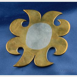 """Artist-Designed Silver and Brass """"Sunburst"""" Brooch, Carol Summers"""