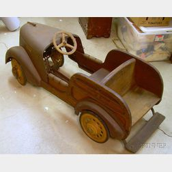 Painted Steel and Wood Buick Station Wagon Pedal Car