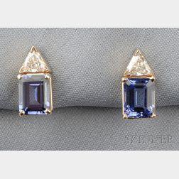 14kt Gold, Tanzanite, and Diamond Earstuds