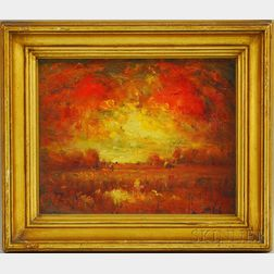 Henry Hammond Ahl (American, 1869-1953)      Fiery Sunset