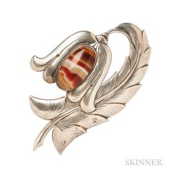 Large Sterling Silver and Banded Agate Brooch, Georg Jensen