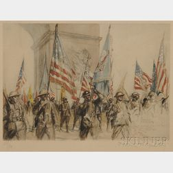 D. Charles Fouqueray (French, 1869-1956)      American Troops Parading Under the Arc de Triomphe Following WWI.