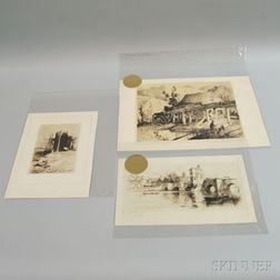 Six Unframed Etchings:      Sears Gallagher (American, 1869-1955), St. Ives Bridge, Cambridgeshire, England