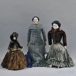 Three German China Head Dolls