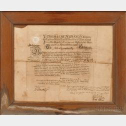 Thomas Hutchinson Signed Officer's Commission