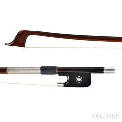 French Silver-mounted Violoncello Bow, Marcel Fetique, c. 1930