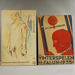 Framed 1972 Munich Olympic Poster and a 1935 Falun Winter Games Poster