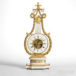 French Ormolu-mounted and White Marble Lyre Mantel Clock