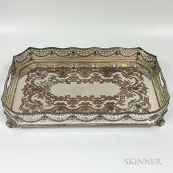 English Large Silver-plated Footed Tray