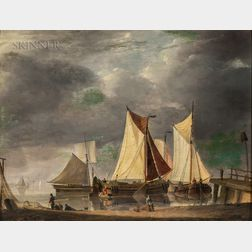 School of Ambroise Louis Garneray (French, 1783-1857)      Fishing Vessels at Shallow Anchor with Figures on the Shore