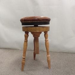 Victorian Leather-upholstered Piano Stool