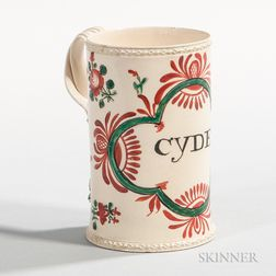 "Polychrome-decorated Creamware ""CYDER"" Mug"