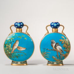 Pair of Minton Porcelain Turquoise-ground Moon Flasks