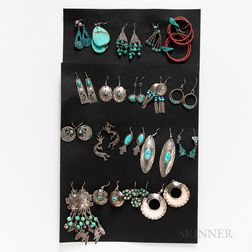 Nineteen Pairs of Southwest Earrings