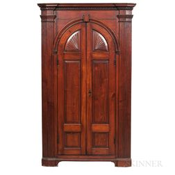 Large Carved Walnut Architectural Corner Cupboard