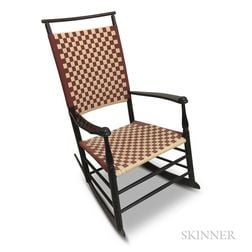 Shaker Reproduction Black-painted Tape-woven Armed Rocking Chair