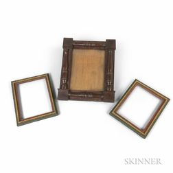 Pair of Painted Tramp Art Frames and a Turned Mahogany Split-baluster Frame
