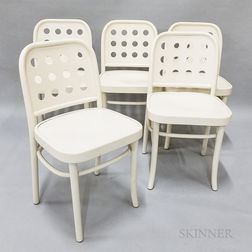 Set of Five Thonet-style White-painted Side Chairs