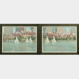 Frank D'Amato (American, 20th/21st Century)      Sailing The Charles, A Diptych.