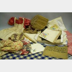 Group of Assorted Table Linens, Home Spun Textiles, Accessories, Etc.