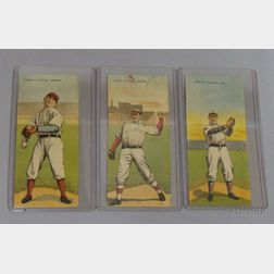 Three 1911 T201 Mecca Cigarettes Double Folder Baseball Cards