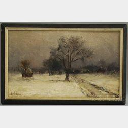 Francois B. De Blois (American/Canadian, 1829-1913)      Snowy Winter Day