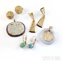 Group of Gold and Green Hardstone Jewelry