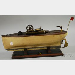 Painted Wood Boat Hull with Mechanical Steam Engine