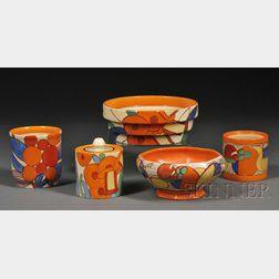 Five Clarice Cliff Fantasque Ware Pottery Items