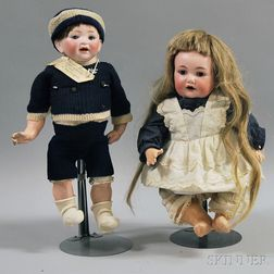 Two German Bisque Head Character Baby Dolls
