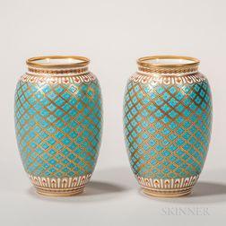 Pair of Minton Porcelain Turquoise-glazed Vases