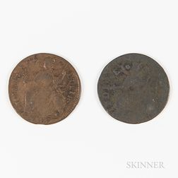Two 1787 Connecticut Coppers
