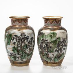 Pair of Denshichi Kanzan (1821-1890) Satsuma Vases