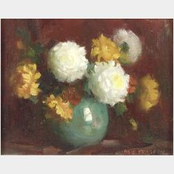 Marguerite Stuber Pearson (American, 1898-1978)  Still Life with White and Yellow Roses