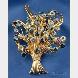 18kt Gold, Multicolor Sapphire, and Diamond Posy Brooch, Van Cleef & Arpels