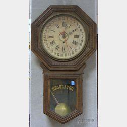 Oak Drop Octagon Calendar Clock by William L. Gilbert